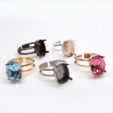 Oval 14x10mm Adjustable Ring For Setting Suitable Swarovski 4120