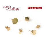 Round Gold filled stud with pads, Choose you size