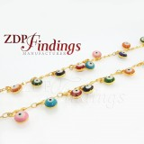 7mm  Eyes Chain, Multi-color round beads