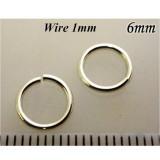 Jump Rings 1mm Gauge x6.0mm ID Sterling Silver 925