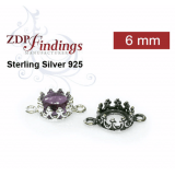 6mm Round 925 Sterling silver Bezel, choose your finish.