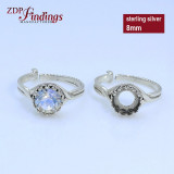 Silver 925 Round Adjustable Ring Bezel Settings