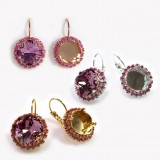 Square 12mm Rose Rhinestone Earrings fit Swarovski 4470
