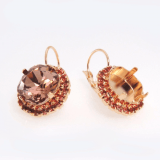 Square 12mm Rose Rhinestone Earrings fit Swarovski 4470-Rose Gold