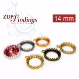 14mm Round Crown Brass Bezel, choose your finish
