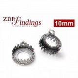10mm Round 925 Sterling silver Bezel