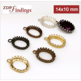 14x10mm Oval Brass Bezel, choose your finish