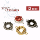Square 12mm Bezel Tray Connector Setting with Crystal Rhinestones fit European Crystals 4470