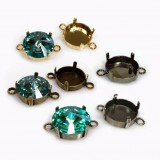 14mm Round Bezel Setting Connector Suitable fit Swarovski 1122