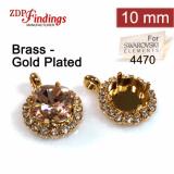 Square 10mm Bezel Pendant Setting with Crystal Rhinestones fit Swarovski 4470