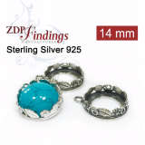 14mm Round 925 Sterling silver Bezel, choose your finish.