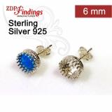 6mm Post Earring, 925 Sterling silver