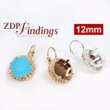 Square 12mm Bezel Setting Earrings w/ Crystal Rhinestones fit Swarovski 4470