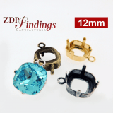 12mm Square Open Back Bezel Cup Pendant For Setting fit Swarovski 4470