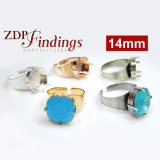 14mm Square Adjustable Ring Bezel For Setting Suitable Swarovski 4470