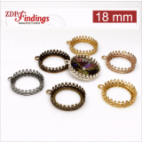 18mm Round Brass Bezel fit Swarovski 1122