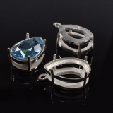 Quality Cast 14x10 mm Pear Shape Sterling Silver 925 Bezel Pendant Settings fit Swarovski 4320