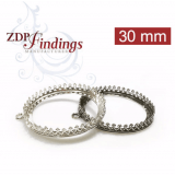 30mm Round 925 Sterling silver Bezel, choose your finish.