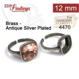 12mm 4470 Ring Base Antique Silver