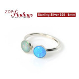 Round Double Bezel Adjustable ring Sterling Silver 925