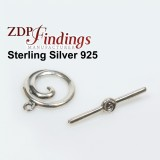 Sterling Silver 925 Round Toggle Clasp 15mm