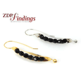 55mm Leverback Leaf Earrings With Black Crystal Beads