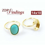 14x10mm Oval Gold Filled Bezel Ring Setting