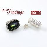14x10mm 4610 Silver 925 Swarovski Post Earrings