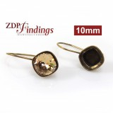 Square 10mm Antique Brass Earrings Fit Swarovski 4470