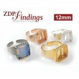Square 12mm Adjustable Ring Setting Fit Swarovski 4447