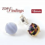 Round 18mm Earrings Setting Fit Swarovski Rivoli 1122
