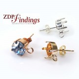 Round 8mm Post Earrings Fit European Crystals SS39