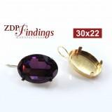 Oval 30x22mm Bezel Kidney Wire Earrings Fit Swarovski 4127