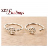 Round 7mm Sterling Silver 925 Flower Adjustable Ring