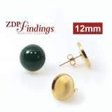 12mm Round Low Bezel Post Earrings