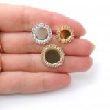 Round Bezel Post Rhinestone Earring Fit Flat Back-Shiny Silver-10mm