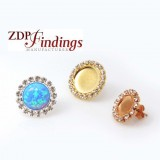 Round Bezel Post Rhinestone Earring Fit Flat Back