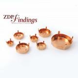 Brass Round Base Bezel Cups Fit Rivoli Swarovski Crystal