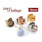 Round 18mm Bezel Ring Setting Fit Swarovski 1122