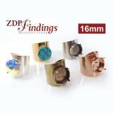 Round 16mm Bezel Ring Setting Fit Swarovski 1122