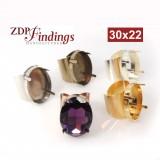 Oval 30x22mm Bezel Ring Setting Fit Swarovski 4547