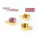 Round Bezel Gold Plated Pendant Fit Swarovski SS34