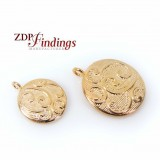 Micron 14K Gold Plating Round Floral Pendant