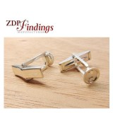 Sterling Silver 925 Cufflinks Round 7.5mm Settings