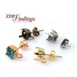 6mm Round Post Earrings Fit Swarovski 29ss