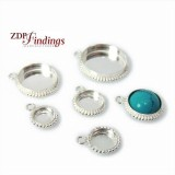 Round Silver 925 Ball Wire Bezel Cup Pendant