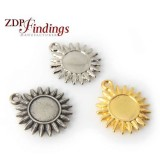 20mm Metal Sun Sunflower Pendant Charm