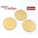 Round 20mm Shiny Gold Plated Flat Tag Disc