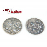25mm Round Antique Silver Discs with Holes