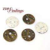 Round 15mm Hammered Discs Pendant with Holes